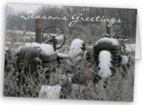 Two John Deere Tractors on Christmas Card