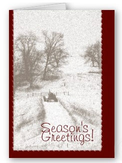 Farm scene with tractor xmas card.